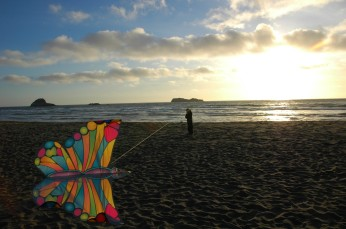 D with the butterfly kite, Trinidad beach