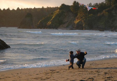 D giving Dad a hug, Trinidad beach