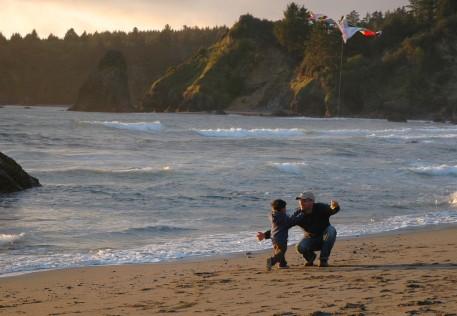 D giving Dad a hug, Trinidad beach