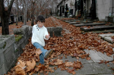 D kicking leaves at Kerepesi