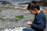 D with his shell collection, Trafrask cottage