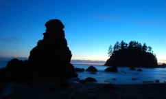 sunset sea stack
