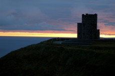 cliffs of Moher tower and sunset