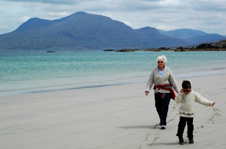Grandma and D on Renvyle beach