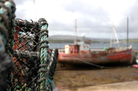lobster pots and boat, Creggans