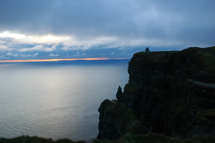 sunset at cliffs of Moher