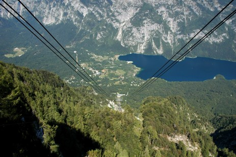 cable car lines with lake below