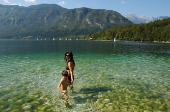 D and mom in the lake, Bohinj