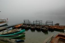 early morning boats, Lake Bohinj