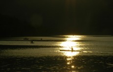 kayakers in evening sun, Bohinj