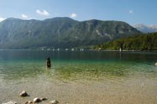 mom in Lake Bohinj