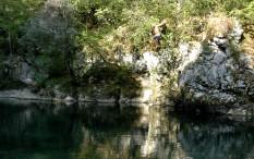 taking the plunge, Sava River