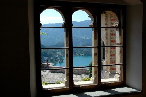 view of lake from window, Bled Castle
