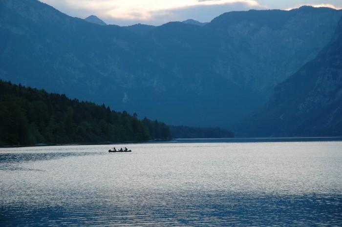 Canoists, Lake Bohinj, Slovenia
