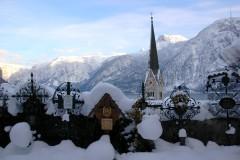 Snowy cemetery, Hallstatt, Austria