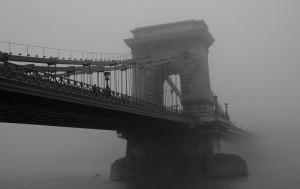 Chain Bridge in fog, Budapest
