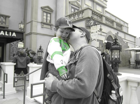 Dad and son at Disney World