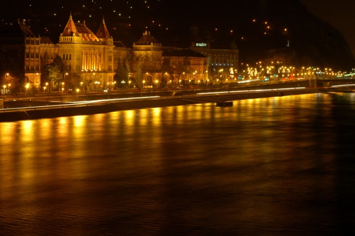 university, gellert, and river at night