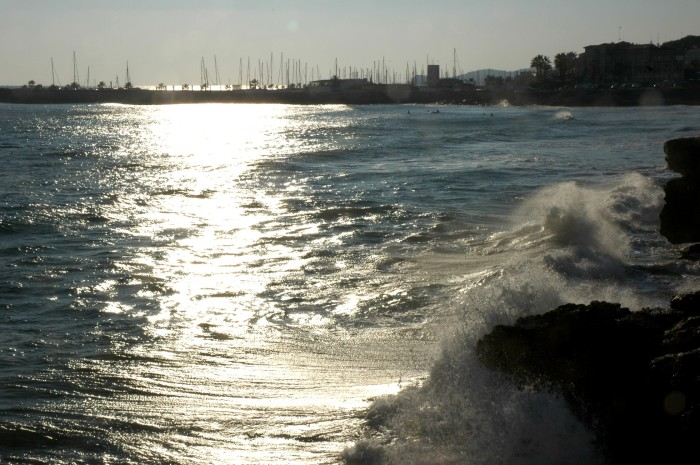 Sitges marina with crashing waves - Copy