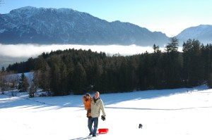Sledding at Tremlhof farm, Attersee, Austria