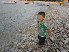 Playing on the beach before dinner, Avlaki