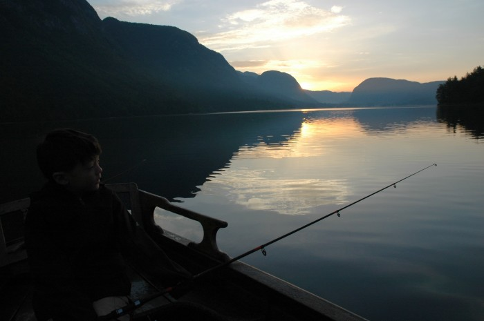 Dawn fishing, Lake Bohinj, Slovenia