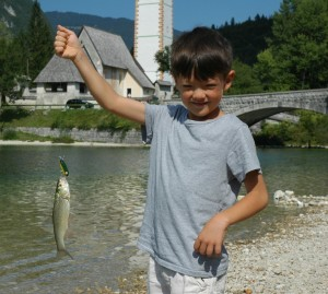 Catching chubs, Lake Bohinj, Slovenia