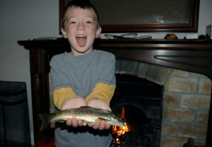 This trout was too badly injured to release, so much to D' glee it was eaten