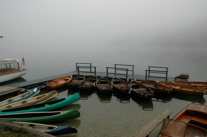 Boats ready to go out on Lake Bohinj, Slovenia