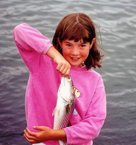 Catching striped bass with my neice