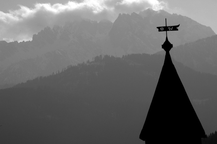chapel steeple and mountains, Radnig 2