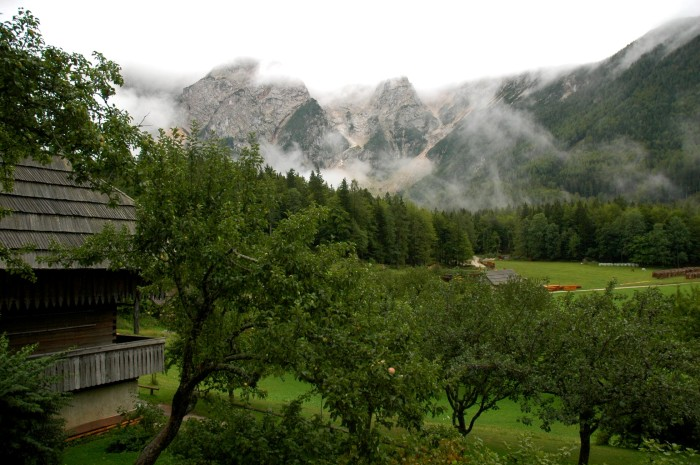 orchard, mountains, and wooden building, Makek farm