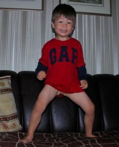 smiley bottomless G on sofa