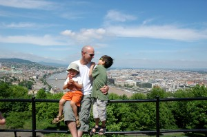 Me and the boys on Gellert Hill, overlooking Budapest