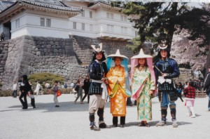 Wearing ridiculous costumes at Odawara castle, Japan