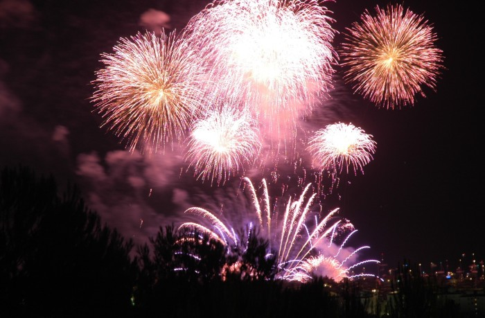 lotsa fireworks with trees