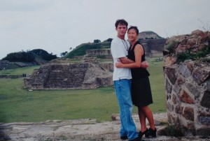 In the ruins of the Zapotec city of Monte Alban, Oaxaca, Mexico
