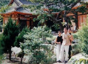 At a temple in Korea - my wife and I are on the right
