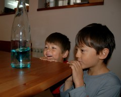 Checking out blue dye in bottle