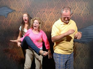 Patrons at a haunted house in Niagara Falls