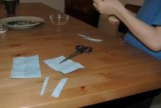 cutting litmus paper