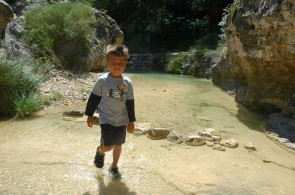 g walking across stream, la febro