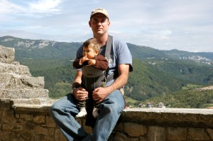 Dad and Griffin on wall, Buzet